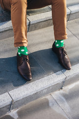 Green & White Spot Designer Socks for Men