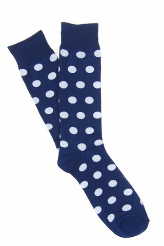Navy & White Spot Socks