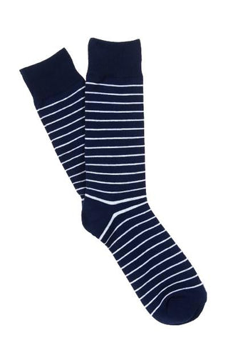 Navy & White Stripe Socks
