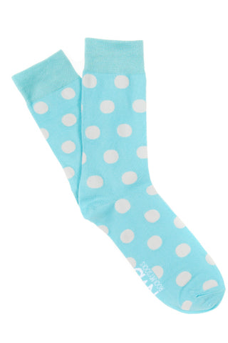 Aqua & White spot Socks