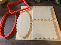 "Cookie / Clay Cutter, Scalloped XL oval, choose size up to 14 1/2"" x 18 1/2"" size, Fondant, Clay, Pottery Tool, extra large cutters"