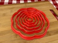 "Cookie / Clay Cutter, Scalloped Circle, Fondant, Clay, Pottery Tool choose size up to 16"" diameter, extra large cutters, 8 petal design"