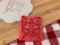 Pottery Stamp, cat face with bandana design, Fondant, Clay, Leather, Pottery Tool, plastic 3d printed, multiple sizes available