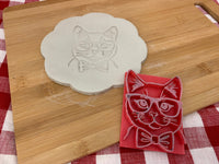 Pottery Stamp, cat face with bowtie and glasses design, Fondant, Clay, Leather, Pottery Tool, plastic 3d printed, multiple sizes available
