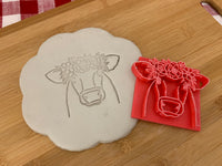 Pottery Stamp, cow face with floral wreath design, Fondant, Clay, Leather, Pottery Tool, plastic 3d printed, multiple sizes available