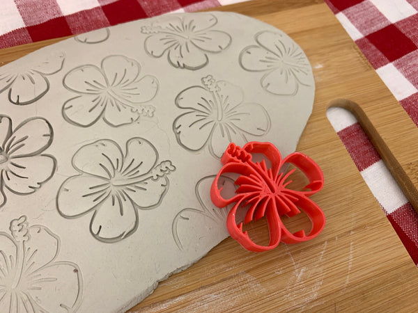 Pottery Stamp, Hibiscus flower design, Fondant, Cookie Dough, Clay, Leather, Pottery Tool, plastic 3d printed, multiple sizes available