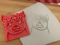 Pottery Stamp, pig face with floral wreath design, Fondant, Clay, Leather, Pottery Tool, plastic 3d printed, multiple sizes available