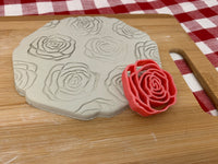 Pottery Stamp, Rose flower design, Fondant, Cookie Dough, Clay, Leather, Pottery Tool, plastic 3d printed, multiple sizes available