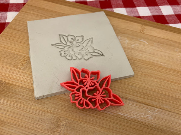 Pottery Stamp, Cherry Blossom flower design, Fondant, Cookie Dough, Clay, Leather, Pottery Tool, plastic 3d printed, multiple sizes