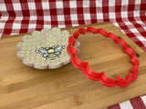"Cookie / Clay Cutter, Scalloped Circle, Fondant, Clay, Pottery Tool choose size up to 16"" diameter, extra large cutters, 14 petal design"