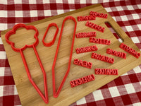 Cookie Cutter, Garden/Planter stake with stamps, Plant markers, set, Clay, Pottery Tool, DIY, make your own vegetable, herb stakes