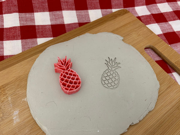 Pottery Stamp, Pineapple design, Fondant, Cookie Dough, leather, Clay, Pottery Tool, plastic 3d printed, multiple sizes available