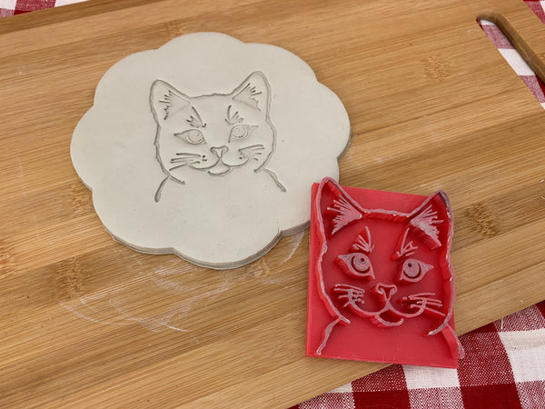 Pottery Stamp, cat face design, Fondant, Clay, Leather, Pottery Tool, plastic 3d printed, multiple sizes available