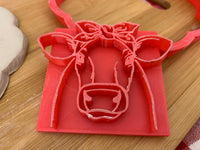 Pottery Stamp, cow face with bandana design, Fondant, Clay, Leather, Pottery Tool, plastic 3d printed, multiple sizes available