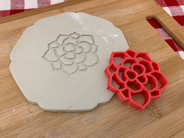 Pottery Stamp, Succulent plant design, Fondant, Cookie Dough, Clay, Leather, Pottery Tool, plastic 3d printed, multiple sizes available
