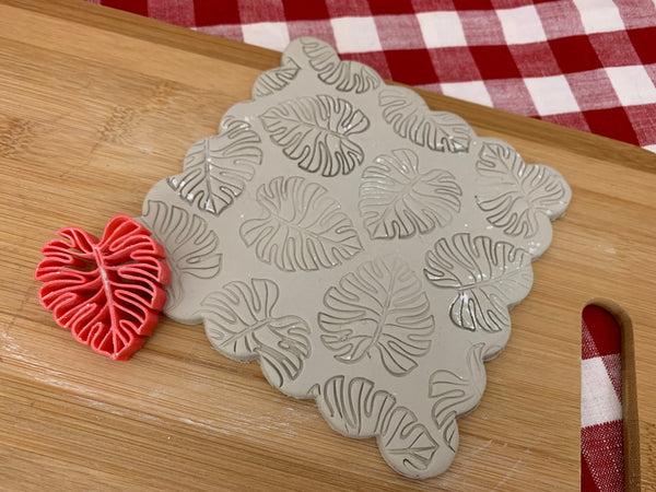 Pottery Stamp, Monstera tropical leaf design, Fondant, Cookie Dough, Clay, Leather, Pottery Tool, plastic 3d printed, multiple sizes avail