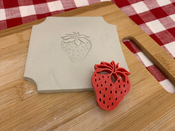 Pottery Stamp, Strawberry design, Fondant, Cookie Dough, Clay, Leather, Pottery Tool, plastic 3d printed, multiple sizes available