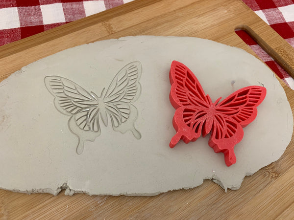 Pottery Stamp, butterfly design, Fondant, Cookie Dough, Clay, Leather, Pottery Tool, plastic 3d printed, multiple sizes available