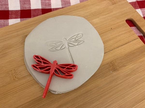 Pottery Stamp, dragonfly design, Fondant, Cookie Dough, Clay, Leather, Pottery Tool, plastic 3d printed, multiple sizes available