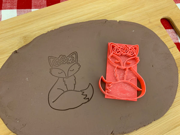Pottery Stamp, Fox design, Fondant, Clay, Leather, Pottery Tool, plastic 3d printed, multiple sizes available, fox with flowers