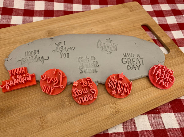 Pottery Stamp, Greeting design, Each or Set, Fondant, Cookie Dough, Clay, Leather, Pottery Tool, plastic 3d printed, various sayings