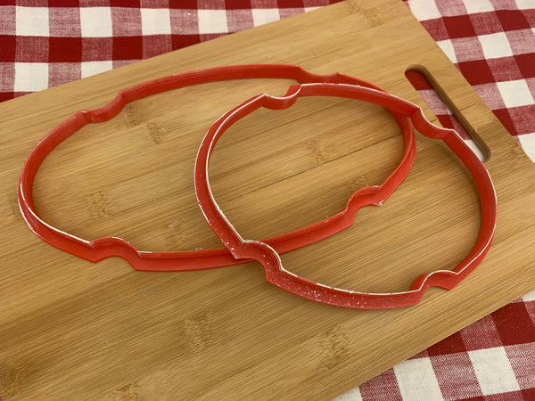 Cookie / Clay Cutter, Oval Plaque design, Fondant, Clay, Pottery Tool, choose size, large clay cutters, trays, dishes