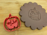 Pottery Stamp, Halloween pumpkin round w/ optional face design, Fondant, Clay, Leather, Pottery Tool, plastic 3d printed, multiple sizes available