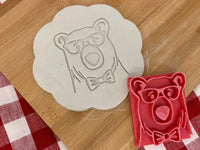 Pottery Stamp, Bear face with glasses or floral wreath design, Fondant, Clay, Leather, Pottery Tool, plastic 3d printed, grizzly, polar