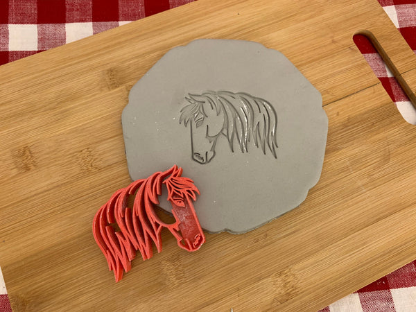 Pottery Stamp, Horse design, Fondant, Cookie Dough, Clay, Leather, Pottery Tool, plastic 3d printed, multiple sizes available