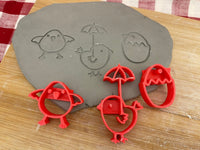 Pottery Stamp, Spring Chick designs, Each or Set, Fondant, Cookie Dough, Clay, Pottery Tool, plastic 3d printed