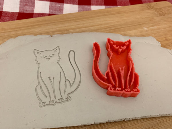 Pottery Stamp, Halloween Black Cat design, Fondant, Clay, Leather, Pottery Tool, plastic 3d printed, multiple sizes available