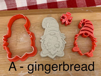 Pottery Stamp, Christmas Gnome designs, with optional cookie cutter ornament, Cookie Dough, Clay, Pottery Tool, plastic 3d printed, each or set