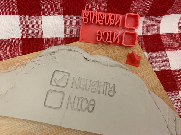 "Pottery Stamp, Christmas casual ""Naughty/Nice"" checklist saying design, Fondant, Cookie Dough, Clay, Leather, Pottery Tool, plastic 3d printed"