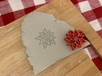 Pottery Stamp, Poinsetta design, Fondant, Cookie Dough, Clay, Leather, Pottery Tool, plastic 3d printed, multiple sizes available