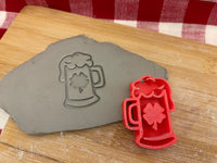 Pottery Stamp, St Patricks Beer glass with Shamrock design, Fondant, Cookie Dough, Clay, Leather, Pottery Tool, plastic 3d printed