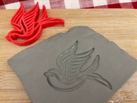 Pottery Stamp, Bird design, Fondant, Cookie Dough, Clay, Leather, Pottery Tool, plastic 3d printed, multiple sizes available