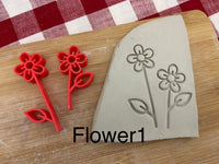 Pottery Stamp, Lot of flower designs, Fondant, Cookie Dough, Clay, Leather, Pottery Tool, multiple designs/sizes, Each or sets available