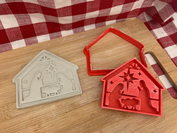 Pottery Stamp, Nativity design, w/ optional ornament cutter Fondant, Cookie Dough, Clay, Leather, Pottery Tool, plastic 3d printed, multiple sizes available