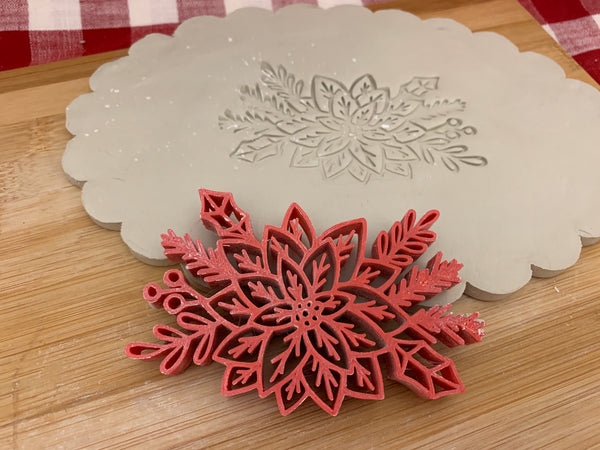 Pottery Stamp, Poinsettia with branches design, Fondant, Cookie Dough, Clay, Leather, Pottery Tool, plastic 3d printed, multiple sizes available