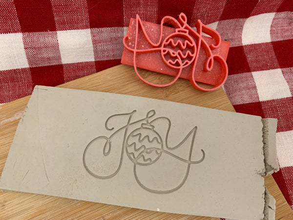 "Pottery Stamp, Christmas casual ""Joy"" saying design, Fondant, Cookie Dough, Clay, Leather, Pottery Tool, plastic 3d printed"