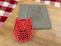 Pottery Stamp, Owl design, Fondant, Cookie Dough, Clay, Leather, Pottery Tool, plastic 3d printed, multiple sizes available