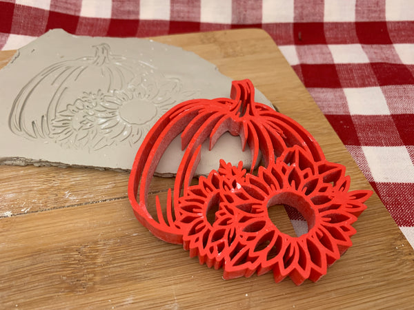 Pottery Stamp, Fall pumpkin w/ sunflower design, Fondant, Clay, Leather, Pottery Tool, plastic 3d printed, multiple options available