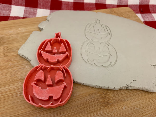 Pottery Stamp, Halloween Pumpkin stack design, Jack-o-lantern, Fondant, Clay, Leather, Pottery Tool, plastic 3d printed, multiple sizes available