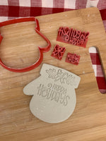 "Pottery Stamp, Christmas casual ""Happy Holidays"" saying design, Fondant, Cookie Dough, Clay, Leather, Pottery Tool, plastic 3d printed"