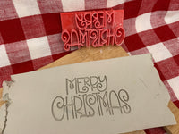 "Pottery Stamp, Christmas casual ""Merry Christmas"" saying design, Fondant, Cookie Dough, Clay, Leather, Pottery Tool, plastic 3d printed"