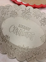 "Pottery Stamp, Christmas formal ""Merry Christmas"" saying design, Fondant, Cookie Dough, Clay, Leather, Pottery Tool, plastic 3d printed"