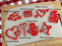 Pottery Stamp, Valentine Heart doodle designs, Each or Set, Fondant, Cookie Dough, Clay, Leather, Pottery Tool, plastic 3d printed