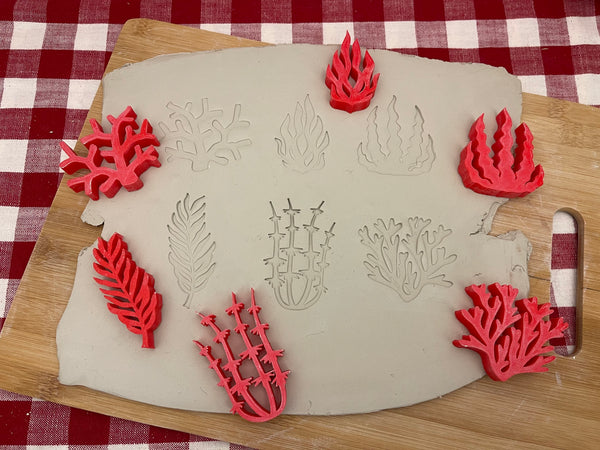 Pottery Stamp, Ocean plant, seaweed, coral design, Each or Set, Fondant, Cookie Dough, Clay, Leather, Pottery Tool, plastic 3d printed
