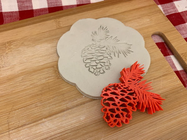 Pottery Stamp, Pine cone branch design, Fondant, Cookie Dough, Clay, Leather, Pottery Tool, plastic 3d printed, multiple sizes available