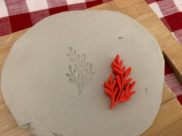 Pottery Stamp, Greenery1 branch design, Fondant, Cookie Dough, Clay, Leather, Pottery Tool, plastic 3d printed, multiple sizes
